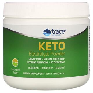 Trace Minerals Research, Keto Electrolyte Powder, Sugar Free, Lemon Lime Flavor, Keto-Elektrolytpulver, zuckerfrei, Zitronen-Limetten-Geschmack, 330g (11,6oz.)