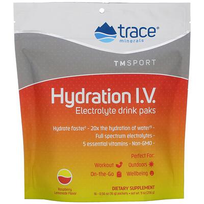 Купить Trace Minerals Research Hydration I.V., Electrolyte Drink Paks, Raspberry Lemonade Flavor, 16 Packets, 0.56 oz (16 g) Each