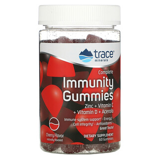 Trace Minerals Research, Complete Immunity Gummies, Cherry, 60 Gummies