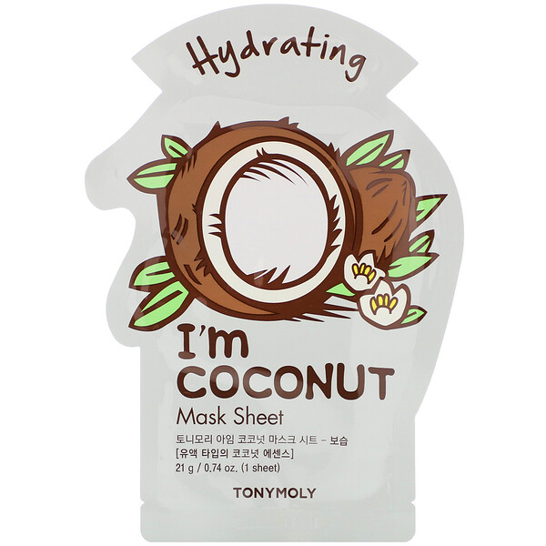 Tony Moly, I'm Coconut، قناع ورقي تجميلي مرطب، قناع ورقي واحد، 0.74 أونصة (21 جم)