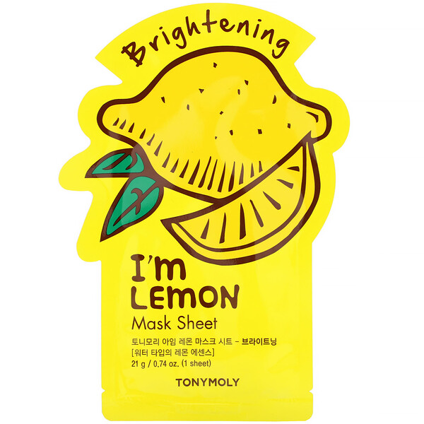 Tony Moly, I'm Lemon, Brightening Beauty Mask Sheet, 1 Sheet, 0.74 oz (21 g)
