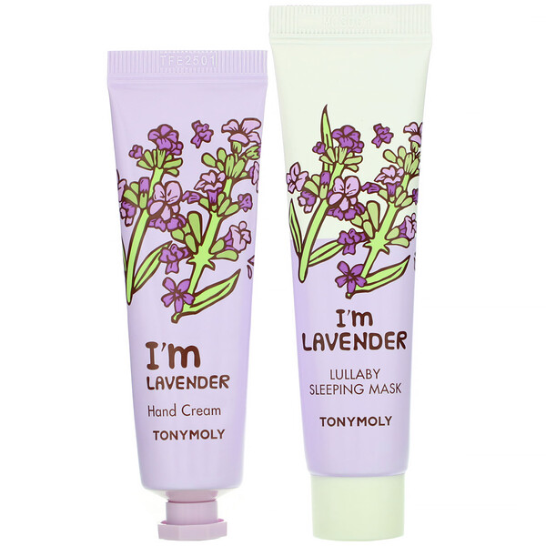Tony Moly, I'm Lavender, Mask & Hand Cream Set, 4 Piece Set
