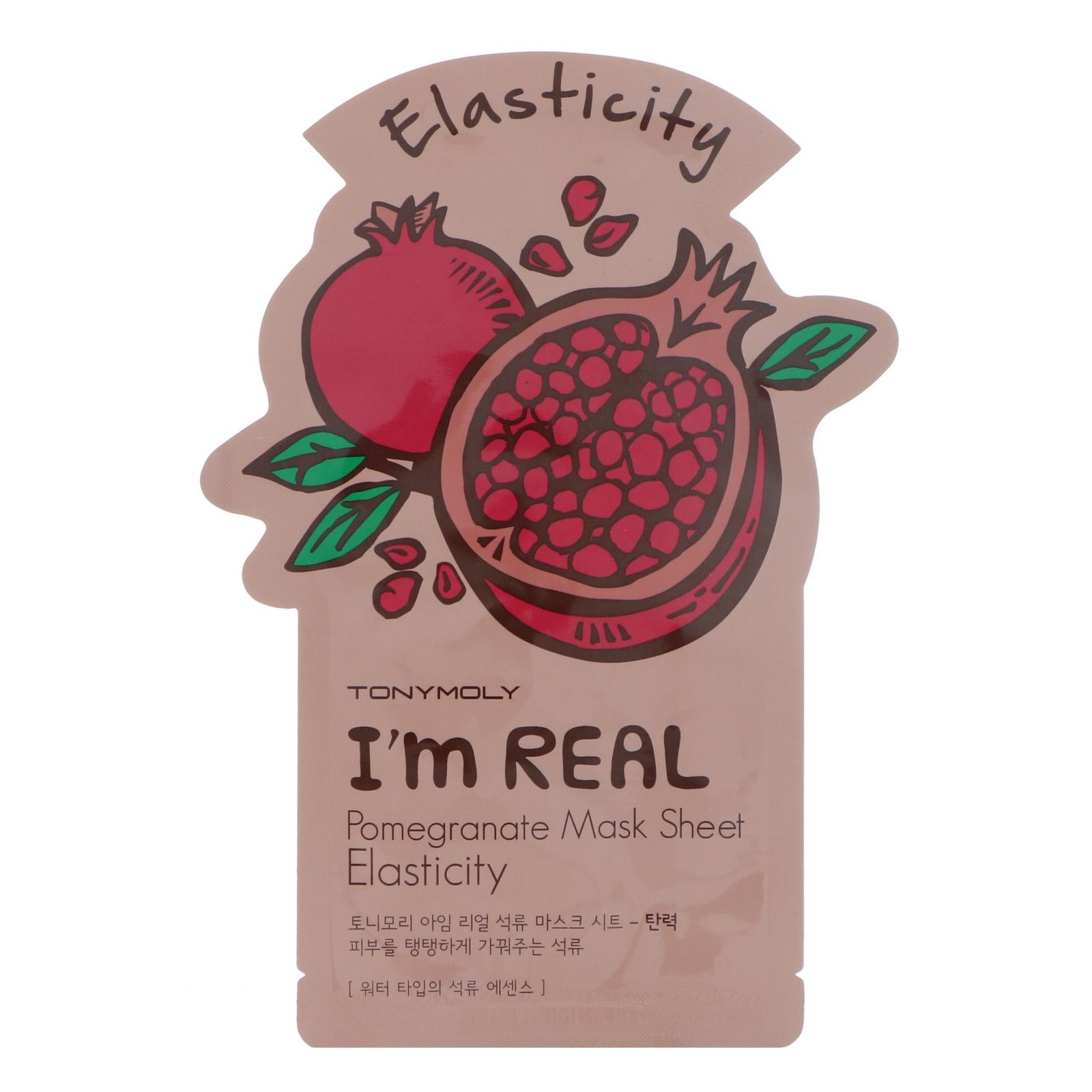 Tony Moly, I'm Real, Pomegranate Mask Sheet, Elasticity, 1 Sheet, 21 g