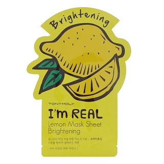 Tony Moly, I'm Real, Lemon Mask Sheet, Brightening, 1 Sheet, 21 g