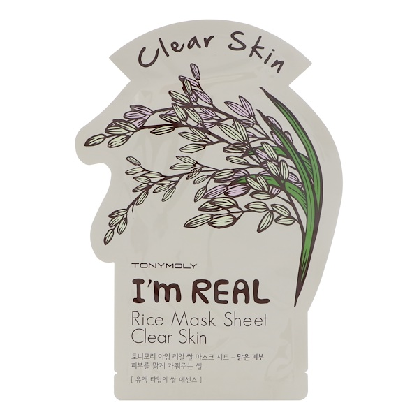 Tony Moly, I'm Real, Rice Mask Sheet, Clear Skin, 1 Sheet, 21 g (Discontinued Item)