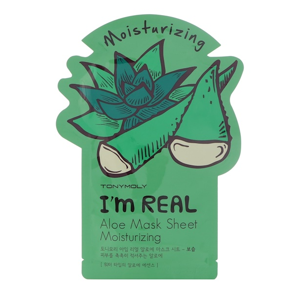 Tony Moly, I'm Real, Aloe Mask Sheet, Moisturizing, 1 Sheet, 21 g (Discontinued Item)