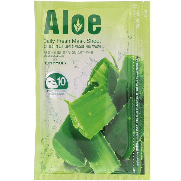 Tony Moly, Daily Fresh Mask Sheet, Aloe, 10 Sheets, 10 oz (150 g)