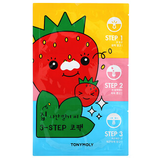 Tony Moly, Runaway Strawberry Seeds, 3-Step Nose Pack, 1 Set