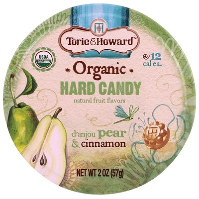 Torie & Howard Organic, Hard Candy, D' Anjou Pear & Cinnamon, 2 oz (57 g)