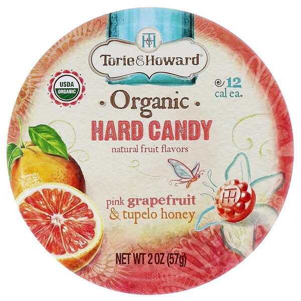 Torie & Howard, Organic, Hard Candy, Pink Grapefruit & Tupelo Honey, 2 oz (57 g)