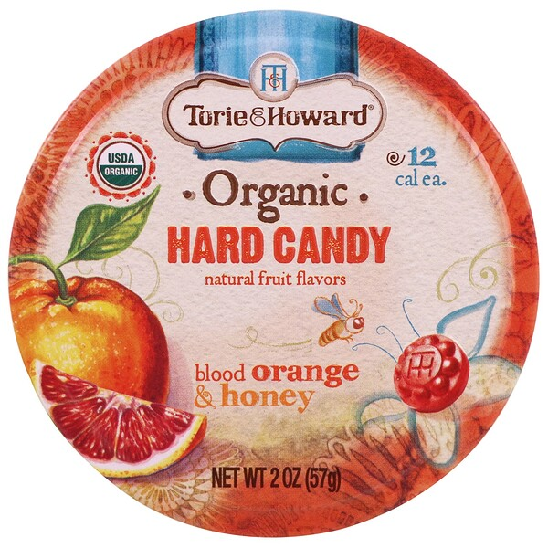 Torie & Howard, Organic, Hard Candy, Blood Orange & Honey, 2 oz (57 g)