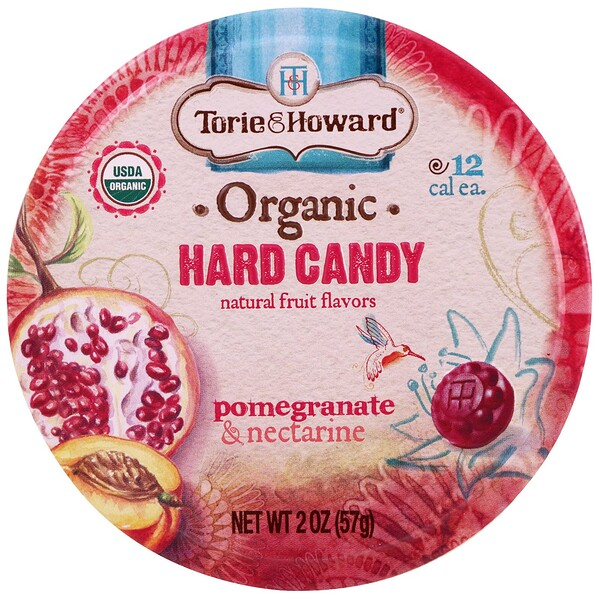 Torie & Howard, Organic, Hard Candy, Pomegranate & Nectarine, 2 oz (57 g) (Discontinued Item)