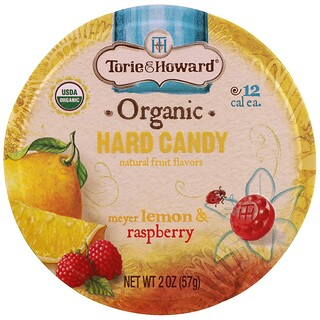 Torie & Howard, Orgánico, Caramelo duro, Limón Meyer y frambuesa, 2 oz (57 g)