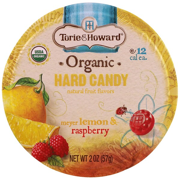 Torie & Howard, Organic, Hard Candy, Meyer Lemon & Raspberry, 2 oz (57 g) (Discontinued Item)