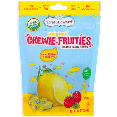 Organic Candy Chews, Original Chewie Fruities, Meyer Lemon & Raspberry, 4 oz (113.40 g)