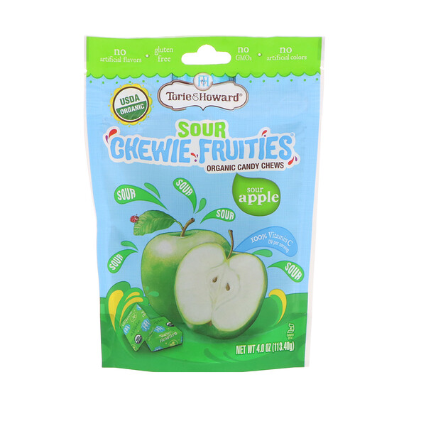 Torie & Howard, Organic, Sour Chewie Fruities, Sour Apple, 4 oz (113.40 g) (Discontinued Item)