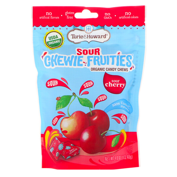 Organic, Sour Chewie Fruities, Sour Cherry, 4 oz (113.40 g)