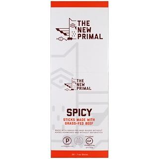 The New Primal, Grass-Fed Beef Sticks, Spicy, 20 Sticks, 1 oz Each