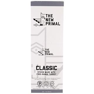 The New Primal, Free-Range Turkey Sticks, Classic, 20 Sticks, 1 oz Each