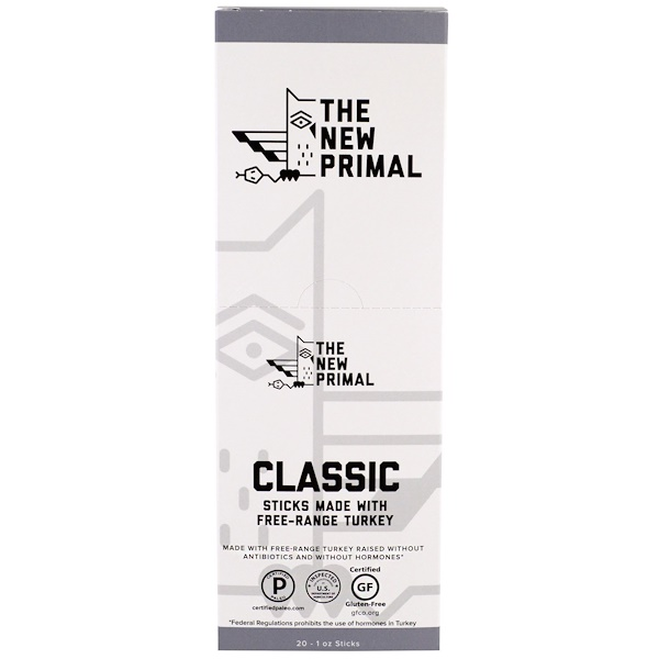 The New Primal, Free-Range Turkey Sticks, Classic, 20 Sticks, 1 oz Each