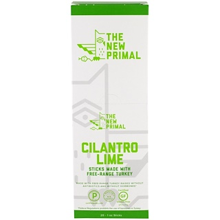 The New Primal, Free-Range Turkey Sticks, Cilantro Lime, 20 Sticks, 1 oz Each