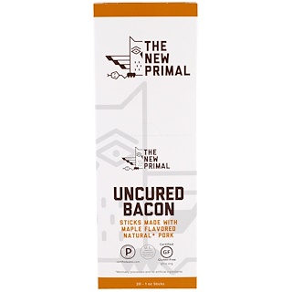 The New Primal, Uncured Bacon, Natural Pork Sticks, Maple Flavored, 20 Sticks, 1 oz Each