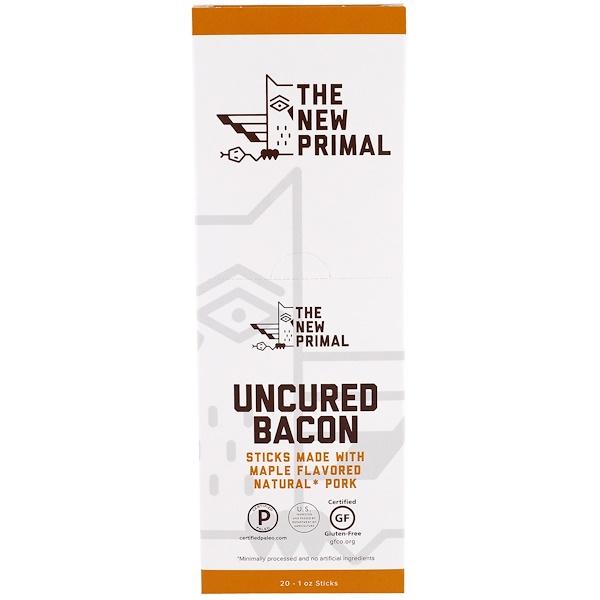 The New Primal, 未經熏制的鹹肉,天然豬肉條,楓葉味,20條,每條1 oz