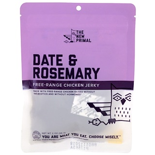 The New Primal, Free-Range Chicken Jerky, Date & Rosemary, 2 oz (56 g)