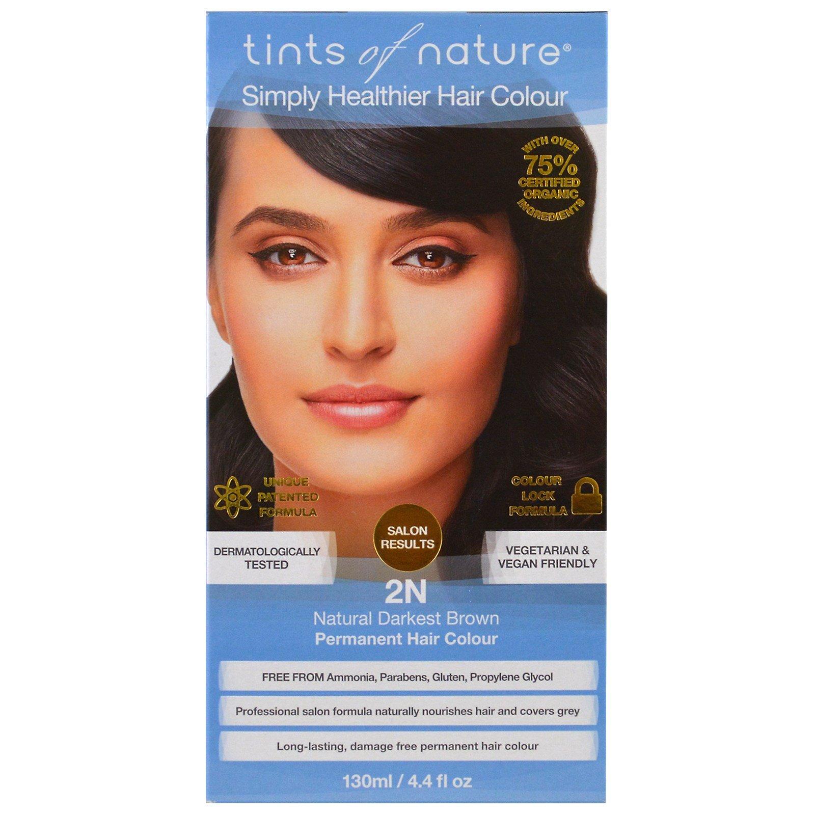 Tints of Nature, Стойкая краска для волос, самый темный натуральный коричневый, 2N, 4,4 ж унц. (130 мл)