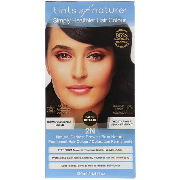 Tints of Nature, 永久性染髮劑,自然深棕色,2N黑色,4、4液盎司(130毫升)