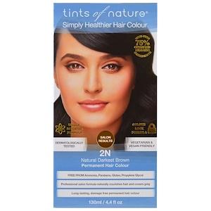 Tints of Nature, Стойкая краска для волос, самый темный натуральный коричневый, 2N, 4,4 ж унц. (130 мл) инструкция, применение, состав, противопоказания