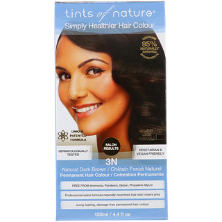 Tints of Nature, Permanent Hair Color, Natural Dark Brown, 3N, 4.4 fl oz (130 ml)