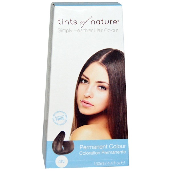 Tints of Nature, Permanent Color, Natural Medium Brown, 4N, 4、4 fl oz (130 ml)