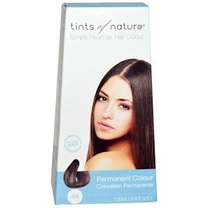 Tints of Nature, Перманентная краска для волос, натуральный коричневый оттенок, 4N, 4.4 жидкие унции (130 мл) инструкция, применение, состав, противопоказания