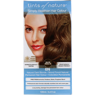 Tints of Nature, Color Permanente, Rubio Oscuro Natural, 6N, 4.4 fl oz (130 ml)