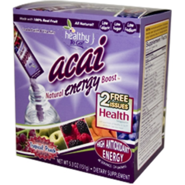 To Go Brands, Healthy To Go, Acai Natural Energy Boost, Tropical Punch Flavor, 24 Packets, 5.3 oz (151 g) Each (Discontinued Item)