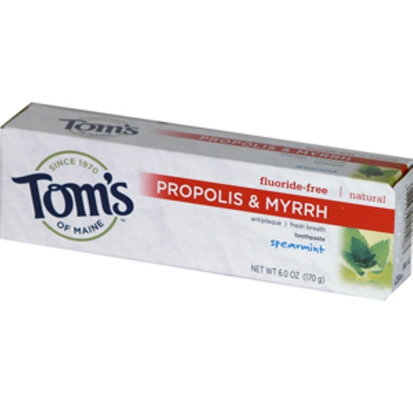 Tom's of Maine, Propolis & Myrrh Toothpaste, Fluoride-Free, Spearmint, 6.0 oz (170 g) (Discontinued Item)