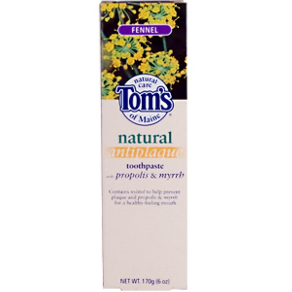 Tom's of Maine, Fennel, Natural Antiplaque Toothpaste with Propolis & Myrrh, 170 g (6 oz) (Discontinued Item)