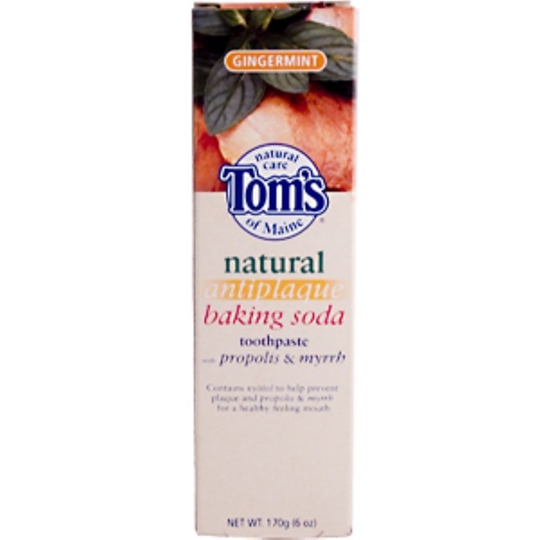 Tom's of Maine, Natural Antiplaque Baking Soda Toothpaste Gingermint with Propolis & Myrrh, 6 oz (170 g) (Discontinued Item)