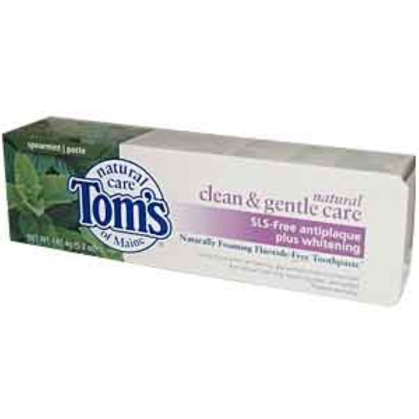 Tom's of Maine, Naturally Foaming Fluoride-Free Toothpaste, Spearmint Paste, 5.2 oz (147.4 g) (Discontinued Item)