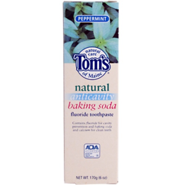 Tom's of Maine, Natural Anticavity Baking Soda Fluoride Toothpaste, Peppermint, 170 g (6 oz) (Discontinued Item)