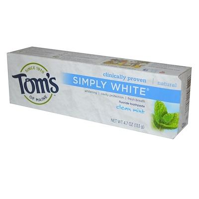 Купить Tom's of Maine Simply White, зубная паста с фтором, чистая мята, 133 г (4, 7 унции)