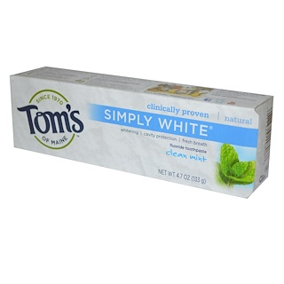 Tom's of Maine, Simply White, Fluoride Toothpaste, Clean Mint, 4.7 oz (133 g)