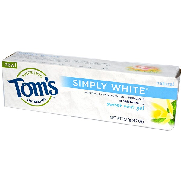 Tom's of Maine, Simply White, Fluoride Toothpaste, Sweet Mint Gel, 4.7 oz (133.2 g)