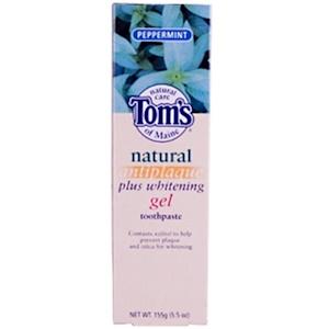 Томс оф Мэйн, Natural Antiplaque Plus Whitening Gel Toothpaste, Peppermint, 5.5 oz (155 g) отзывы
