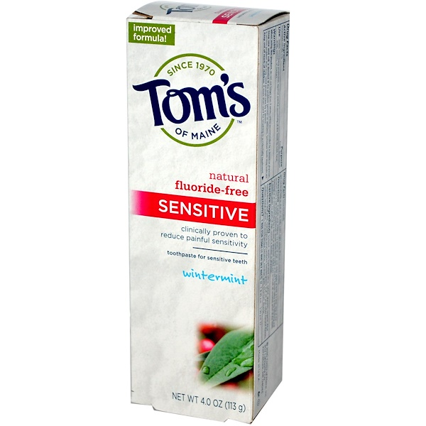 Tom's of Maine, Sensitive Toothpaste, Fluoride-Free, Wintermint, 4 oz (113 g) (Discontinued Item)