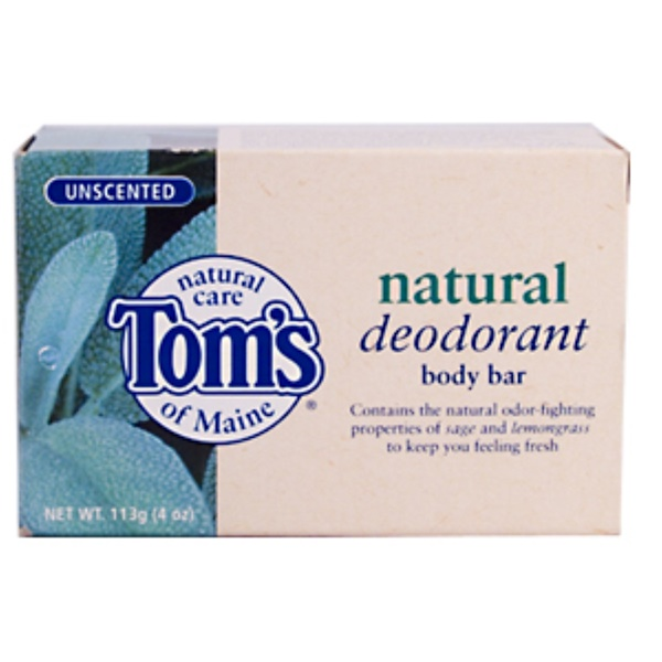 Tom's of Maine, Natural Deodorant Body Bar, Unscented, 4 oz (113 g) (Discontinued Item)