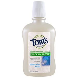 Томс оф Мэйн, Wicked Fresh!, Mouthwash, Peppermint Wave, 16 fl oz (473 ml) отзывы покупателей