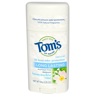 Tom's of Maine, Natural Long Lasting Deodorant, Aluminum-Free, Honeysuckle Rose, 2.25 oz (64 g)