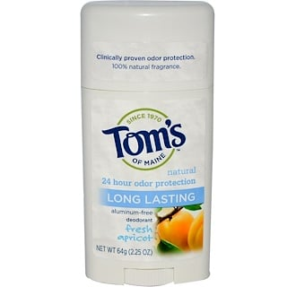 Tom's of Maine, Natural Long Lasting Deodorant, Aluminum-Free, Fresh Apricot, 2.25 oz (64 g)